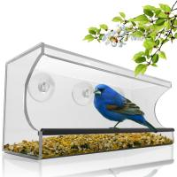 China Birdscapes window bird feeder House shaped clear acrylic bird feeder wholesale