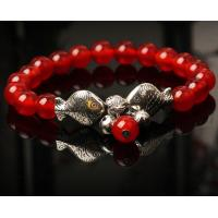 China Traditional red agate lucky silver fishes women