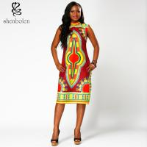 China Dashiki style  African Print  Dress midi length Square collar  100% wax cotton wholesale