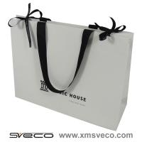 China customized paper bag with ribbon handle,white paper bag wholesale