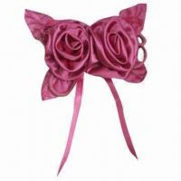 China Fuchsia Ribbon Bow with Pearl String and Satin Ribbon Hanging, Suitable Style for Garment Decoration wholesale