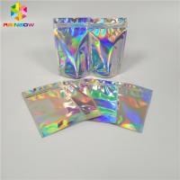 China Resealable Cosmetic Packaging Bag Foil Hologram Mylar Ziplock Pouch With Easy Tear wholesale