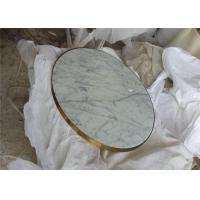 China Classic Carrara Marble Table Top , Round Coffee Table Top With Golden Edge on sale