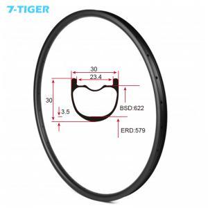 China 7-tiger NEW 30 x 30 mm Width Carbon Fiber 29er Mountain Bike Clincher Rim Tubeless Compatible ud matte wholesale