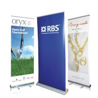 China Best Seller Outdoor Advertising Flag Aluminum Stand Seasonal Retractable Display Promotional PVC Roll Up Banner on sale