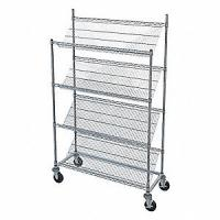 "China Rust Proof Slanted Wire Shelving Rack Unit Chrome Finish 14""D X 30""W X 48""H wholesale"