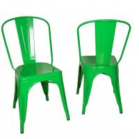 China Stackable Marais Green Metal Tolix Chairs For Dining , Tolix Cafe Chair wholesale