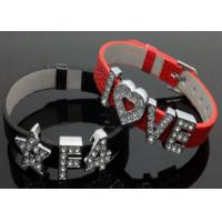 Quality A-Z Slide letters Charm DIY Personalized PU Leather Wristband bracelets for sale
