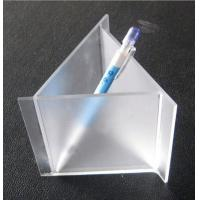 China Frosted Engraved Triangle Acrylic Pen Holder With Different Size For Desk on sale