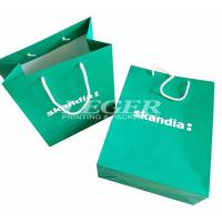 China Green Paper Bags With White Cotton Handles, Commercial Promotional Shopping Bags wholesale