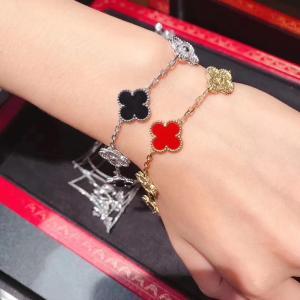 China Custom 18K White Gold Diamond Van Cleef Vintage Alhambra Bracelet 5 Motifs brand jewelry china wholesale