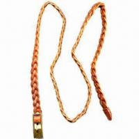China Braided belt for men/women, with antique brass buckle, available in various colors wholesale