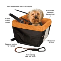 China  Hot Selling Soft Comfortable Portable Dog Booster Car Seat with Clip-on Safety Leash          on sale