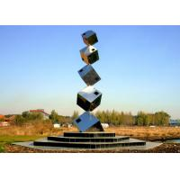 China Polished Large Garden Sculptures Metal , Cube Tower Stainless Steel Art Sculptures wholesale