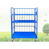 China Blue Warehouse Cages On Wheels / Stackable Storage Cages With Shelves wholesale