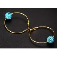 China Navy Blue Crystal Ball Thin Hoop Earrings For Christmas Stocking Filler wholesale