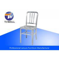 Quality Outdoor Emeco Aluminum Navy Chairs With Plastic Foot Pad , Modern Bistro Chairs for sale