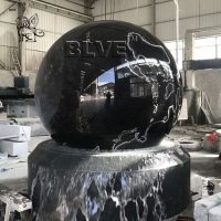 China Marble Floating Ball Feng Shui Water Fountain Garden Black Natural Stone wholesale