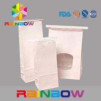 China White Kraft Paper Flat Bottom Window Bags With Tin Tie , Chia Seed Packaging wholesale