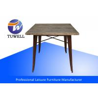 China Outddor Ash Wood Top Tolix Marais Table With Powder Coating wholesale