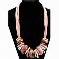 China Fashionable Necklace, Decorated with Fabric Chain and Large Acrylic Pendant on sale
