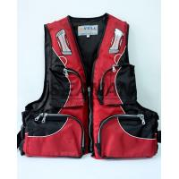 China 100N Red Water Sport Fishing Life Jacket With Oxford Nylon Adult Rigid Foam wholesale