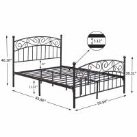 China Twin Black Cast Iron King Size Bed Frame Customized Size ISO9001 on sale