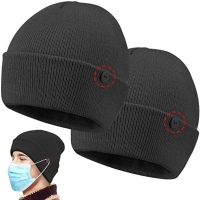 China Custom Button 58cm Knit Beanie Hats Easy To Wear Masks wholesale