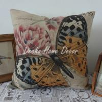 Quality Yellow Butterfly Pink flowers Printed Garden Furniture Cushions Polyester Waterproof for sale