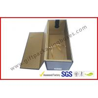 China Foldable 1100G Rigid Board Wine Packaging Boxes , Rubber Finished Luxury Gift Boxes With Spot UV Logo wholesale