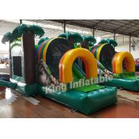 China Green Printed PVC Small Inflatable Bouncer Castle Kids Playground Flame Resistant wholesale