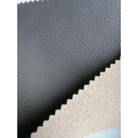 China Perforated Leather Material With Real Leather Effect , Black Leather Fabric wholesale