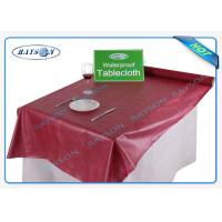 China Wine Red Waterproof Spunbond Non Woven Tablecloth In Square Shape wholesale