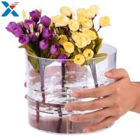 China Waterproof Acrylic Flower Box Makeup Organizer Holder Round Shape ROHS Approval wholesale