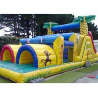 China Jungle Theme Inflatable Obstacle Course Plato 0.55 Mm PVC Material wholesale