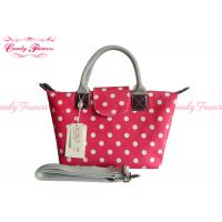 China Girls Waterproof Womens Tote Bag Fashionable Rose Red with White Spot wholesale
