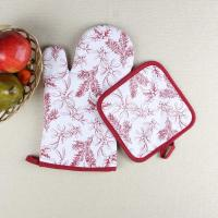 China Leaves Printed Heat Resistant Microwave Professional Oven Gloves Pot Holder wholesale