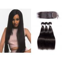 China 100% Human Hair Weave Bundles With Closure Multiple Hair Textures No Shedding wholesale