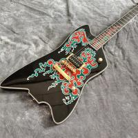 China Custom New 6 Strings Black Electric Guitar with Fire Inlays Fingerboard Gold Color Hardware on sale