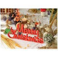 China Christmas table decoration wood sign Merry Christmas Front door wooden sign red sign wholesale