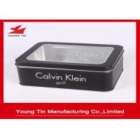 Buy cheap Black Gift Printed Tin Containers 0.23mm Rectangle Metal Watch Packaging Clear from wholesalers