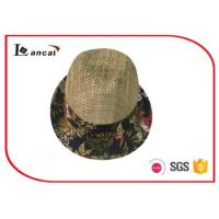 China Fashion natural Wide Brimmed Straw Hat , mens floral aop trim seagrass straw hat wholesale