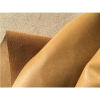 China Ocher Wrinkle Bonded Leather Fabric For Upholstery , Leather Furniture Fabric wholesale
