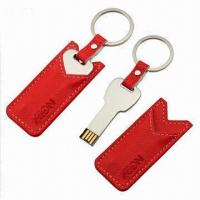China Key-shaped USB Flash Drive with Leather Pouch, Customized Logos are Welcome  wholesale