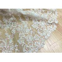 China Delicate Ivory Corded Lace Fabric , Floral White Embroidered Tulle Fabric For Wedding Dress wholesale