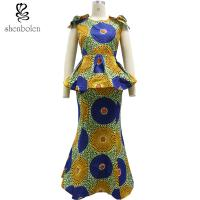 China Wax African Women Maxi Dress Batik Print Kitenge Latest Design Long Dresses wholesale