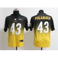 China NFL pittsburgh steelers 43 Polamalu Drift Fashion II black yellow jersey wholesale