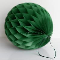 Buy cheap Dark Green Tissue Paper Honeycomb Balls Pom Poms With Satin Ribbon Loop For from wholesalers