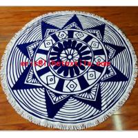 China round beach towel with tassel ,reactive printed , velour , on sale