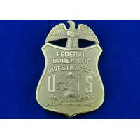 China Brass Stamped Federal Bureau Investigation Badge, Clip Souvenir Badges with Die Cast, Die Struck, Stamped wholesale